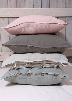 Pillowcase with ties, buttons or envelope closure. Kind of closure please note while ordering in the note for the seller. In other case pillows will be sewn with envelope closure. Linen Pillows, Linen Fabric, Bed Pillows, Cushions, Bed Linens, Pink Bedding, Luxury Bedding, Bedding Sets, Handmade Pillows