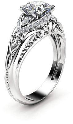 Etsy Unique Art Deco Moissanite Engagement Ring 14K White Gold Ring Diamond Alternative Engagement Ring