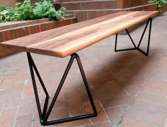 Reclaimed Wood Bench - Metro Bench. $1,100.00, via Etsy. | Reclaimed wood bench, but not super rustic. I like. A lot.