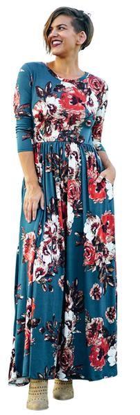 The Sienna Floral Maxi: Teal  #taralynnsboutique #fallfashion #fall2017 #turquoise #floralmaxi #threequatersleeve #plussizes #extendedsizes #petite #petitemaxi
