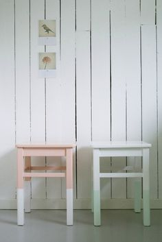 Dip-Dye Furniture. White, mint green and blush pink wooden stools