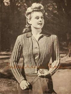 """Belinda          Patons and Baldwins No. 172, circa 1944-1945   34"""" -37"""" Bust   12-ply weight (or bulky weight) yarn / 5.5mm and 6...."""