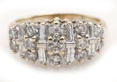 14k Yellow Gold .75cttw Round Brilliant & Baguette Cut Diamond Cluster Ring