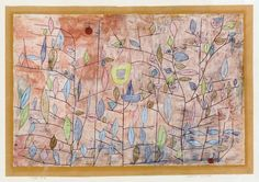"""Sparse Foliage,"" 1934, Paul Klee. Gouache, oil, watercolor on paper."