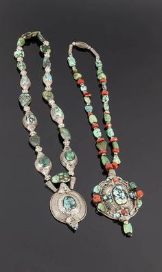 Tibet | Necklaces; silver, turquoise and coral | 375€ ~ Sold (June '15)