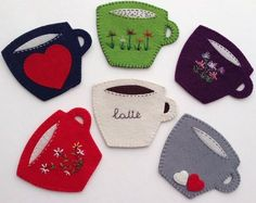 Coasters WhatsApp 0545 839 41 10 # Coarse # Coasters # Cup # Coffee Mug . Diy Crafts Coasters, Felt Coasters, Felt Crafts Diy, Felt Diy, Handmade Felt, Sewing Crafts, Sewing Projects, Felt Bookmark, Felt Books