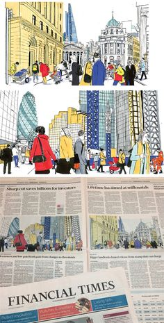 Clare Mallison illustrated the Budget 2016 personal finance pages for the FT. Robot Revolution, Financial Times, Illustrations, East London, Budgeting, Black And White, Personal Finance, Editorial, Inspiration