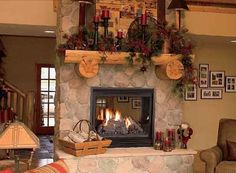 Free standing see through fireplace-dining to family room