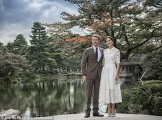 Crown Prince Frederik and Crown Princess Mary of Denmark visiting Kenrokuen Garden in Kanazawa, Ishikawa on day two of their official visit to Japan