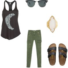 Untitled #11 by sarahjohnson94 on Polyvore featuring polyvore, fashion, style, Billabong, Zara, Birkenstock, HEATHER BENJAMIN and Ray-Ban