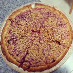 Blueberry rhubarb crumb pie | Photo by pajeba | recipe credit: http://www.freshnewengland.blogspot.com/2013/07/blueberry-rhubarb-crumb-pie.html | I forgot my cider vinegar, so used half red wine vinegar and half white distilled - the crust tasted great! I would reduce the bake time, it got a little overdone by 32 minutes, but overall a great recipe and a big hit.