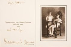 "Christmas card dated 1992 from the  Prince and Princess of Wales, signed by  Princess Diana, ivory card with royal  insignia stamped on front .Card message reads ""Wishing you a Happy Christmas and New Year 1992"""