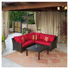 4 Piece Cabo Outdoor Sectional Set in Red