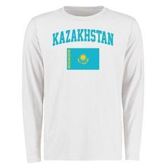 Kazakhstan Flag Long Sleeve T-Shirt - White