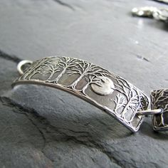 Moonlight No. 5 Moon and Trees Bracelet Handmade by SilverWishes