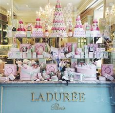 (notitle) - It's French To Me - Patisserie Laduree Paris, Visual Merchandising, Decoration Patisserie, Parisian Cafe, French Bakery, Chocolate Shop, Shop Fronts, Pastry Shop, Cake Shop