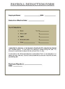Payroll Deduction Authorization Form Payroll Sample Form