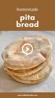 Simple homemade pita bread - Miles better than store-bought versions, with just 4 ingredients to make fluffy, pillowy pita pockets every time. Pitta Bread Recipe, Best Bread Recipe, Homemade Pita Bread, Pita Pockets, 4 Ingredients, Baking Recipes, Artisan Bread Recipes, Mexican Food Recipes, Food Videos