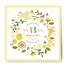 "Brides.com: Save-the-Date Cards for a Spring Wedding. A Yellow Floral Save-the-Date. For spring weddings, we love this sweet design by Jennifer Wick for Minted. It's like a vintage handkerchief, don't you think? The wreath of flowers and fruit encircling the couple's names is so pretty, and the splashes of lemon yellow would nicely complement an outdoor reception at a farm or fruit orchard or even in someone's backyard.  ""Summer Celandine"" save-the-date, $136 for 100, Jennifer Wick for ..."