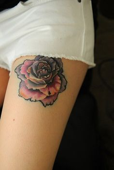 Really cool use of black outline. From FYeahTattoos.com