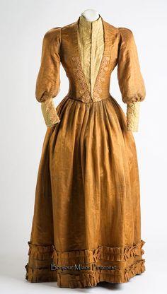 Day dress, Pesquería, Nuevo León, Mexico, late 19th/early 20th century. Mixed textiles, including damask.