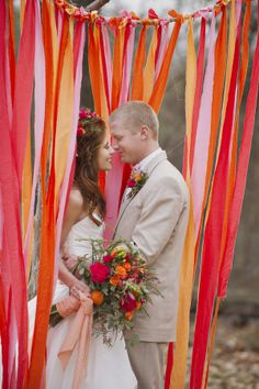 Streamers at your wedding - YES!   by The Barn at Twin Oaks Ranch  The Valentine Ombre