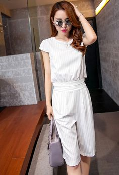 Stripe blouse and short pants two piece casual set #korean #style