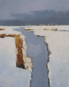 Jan Groenhart, Dutch, b. 1952, Abstract Landscape, Bevroren sloot