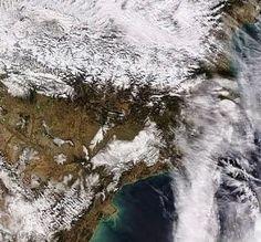 Imatge del satèl·lit Aqua de la nevada del 4 de febrer de 2015