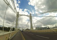 One of London's most beautiful bridges, it's also spectacularly lit at night by thousands of bulbs (I wonder if they've changed them to long-life, low-energy ones yet?). The cab is heading towards Battersea from Chelsea.#GoProHero3BE © Steve Swindells Au