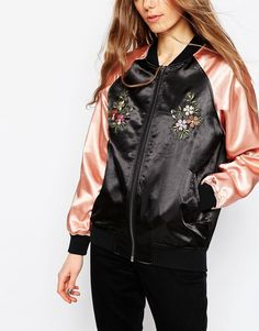 Image 3 ofASOS TALL Premium Bomber Jacket with Floral Embroidery