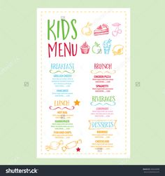 Image result for kids menu designs