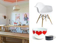 design attractor: Kaj Franck heart bowl, Eames chairs, Marimekko - styling by Kirsten Grove.
