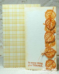 handmade Thanksgiving card from Stamping with Klass ... tall and thin format falling leaves in bright Fall colors tumble down one edge ... like how some are popped up and one has a simple linen bow ... handcrafted envelope from yellow plaid paper ... great look !
