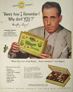 Original vintage magazine ad for Whitman's Candy featuring actor Humphrey Bogart. Tagline or sample ad copy: Here's how I remember! Publication Year: 1954 Approximate Ad Size (in inches): x Condition: Good Old Advertisements, Retro Advertising, Retro Ads, Celebrity Advertising, School Advertising, Advertising Campaign, Vintage Magazine, Magazine Ads, Humphrey Bogart