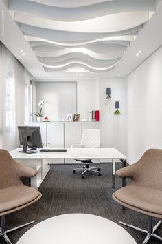 Workspace with geometric ceilings Office Ceiling Modern offices
