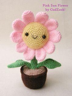 Cute crochet flower in a flowerpot.