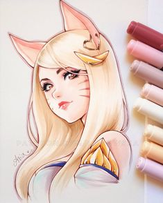 Bon Totalement gratuit league of legends ahri Concepts Anime Drawings Sketches, Anime Sketch, Manga Drawing, Cute Drawings, Copic Marker Art, Copic Art, League Of Legends Characters, Lol League Of Legends, Desenhos League Of Legends