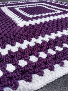 Crochet Purple Baby Blanket - Handmade Purple and White Baby Afghan - Purple Throw - Purple and White Granny Square Blanket