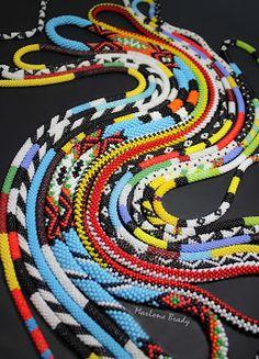 Marlene Brady. Bead crochet patterned ropes.