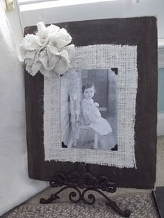 old picture frame idea with burlap. Use other materials to make a frame into a piece of the art.