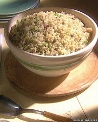 "Quick-cooking quinoa is a nutritional powerhouse, packed with protein, iron, and fiber. It is also the foundation for a main-course salad with chicken and springy vegetables. This recipe comes from our book ""One Pot."""