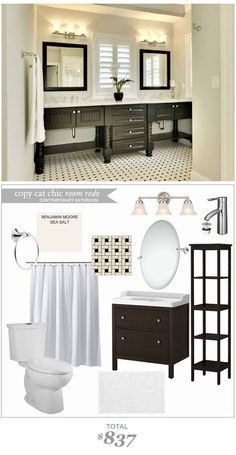 #CopyCatChicRoomRedo A classic bathroom recreated for only $837! #LindseyBoyer
