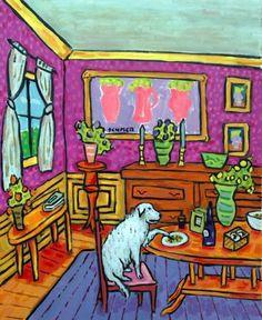 GREAT PYRENEES dog art PRINT poster gift modern folk JSCHMETZ 8x10 dining room