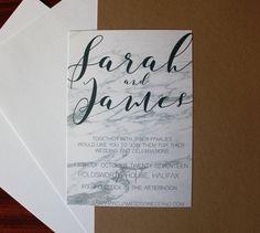 Simple PDF Printable White Grey Marble Wedding Invitation Downloadable Digital File