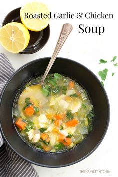 from The Harvest Kitchen / this nourishing, comforting Roasted Garlic Chicken Soup is all about the broth.. Roasted garlic is blended in with the broth with back notes of ginger and lemon.