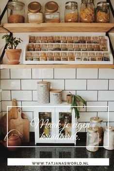 Subway tile and spice organization. What does your spice collection look like? Organized or messy? Spice racks can simplify your kitchen space, make it easier for you to find what you need, and best of all - they look beautiful! Kallax, Kitchen Rack, Kitchen Decor, Kitchen Ideas, Beautiful Bedrooms, Beautiful Homes, Modern Kitchen Counters, Nordic Kitchen, Mid Century Modern Kitchen