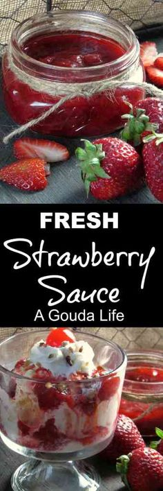 Fresh, Homemade Strawberry Sauce ~ easy homemade deliciuos sauce with ice cream, cheesecake or waffles. Not overly sweet. Easy Dessert Bars, Pie Dessert, Easy Desserts, Delicious Desserts, Dessert Recipes, Strawberry Sundae, Strawberry Recipes, Dried Strawberries, Sweet Sauce