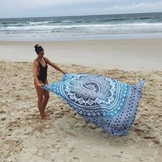 Green Blue Ombre Elephant Mandala Bohemian Yoga Beach Wall Boho Tapestry