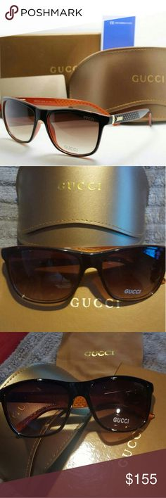 Gucci sunglasses Gucci sunglasses that features a luxurious translucent lens.    There's a tiny scratch on the frame that I have shown in the last pic with a close up.  The scratch isn't visible when worn.   Brand new. Case. Tags. Packaging.  Reduced price because of the scratch. Gucci Accessories Glasses